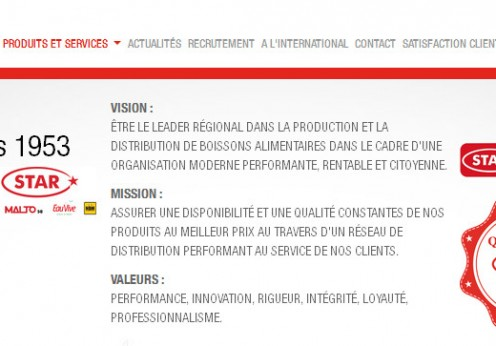 Accueil Site web Groupe Star