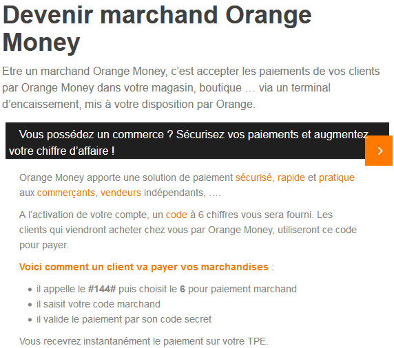 Devenir marchand Orange Money