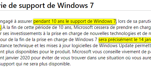 Cycle de vie de Windows 7